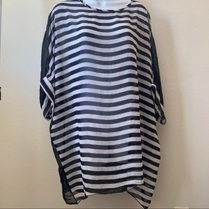 Other - Black & White Striped Swim Cover-up